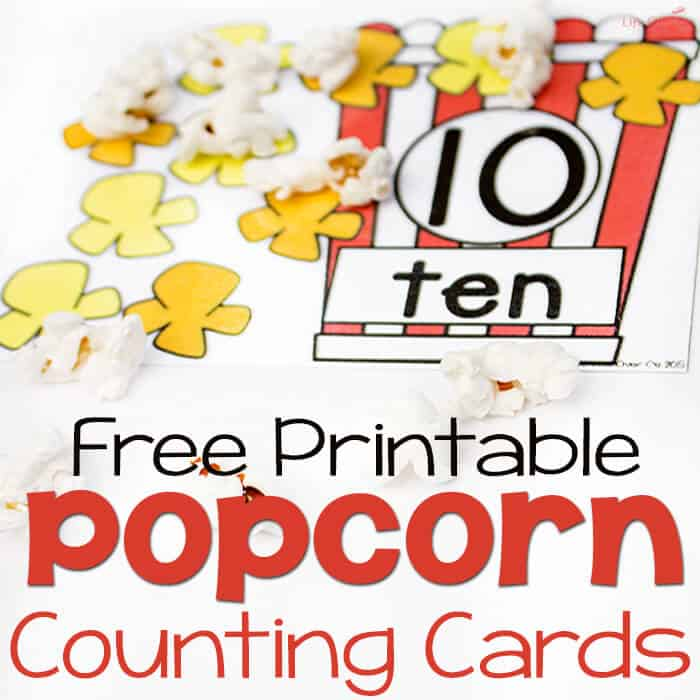 Free Printable Popcorn Counting Cards
