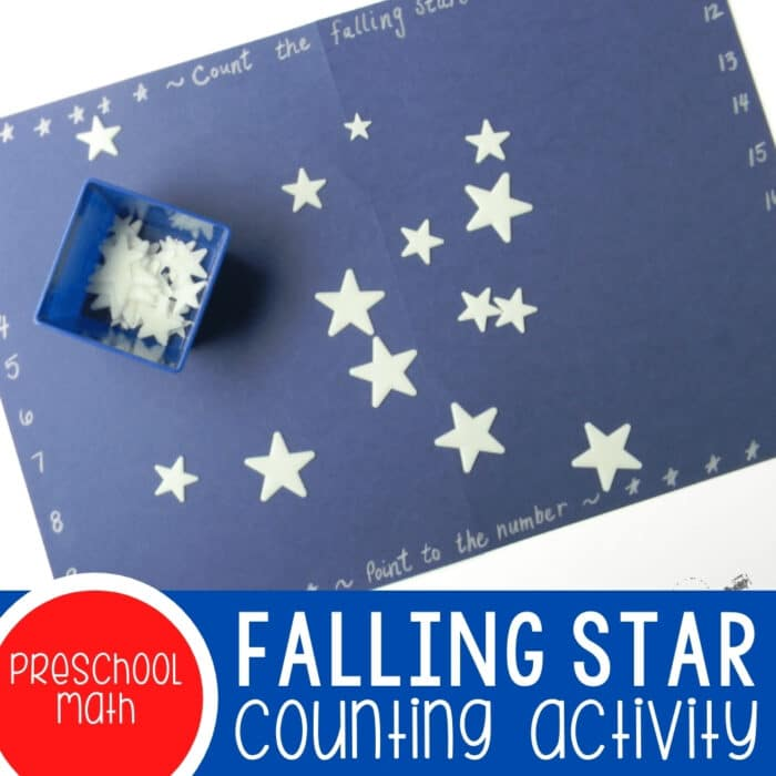 Counting Falling Stars Preschool Math Activity Featured Square Image