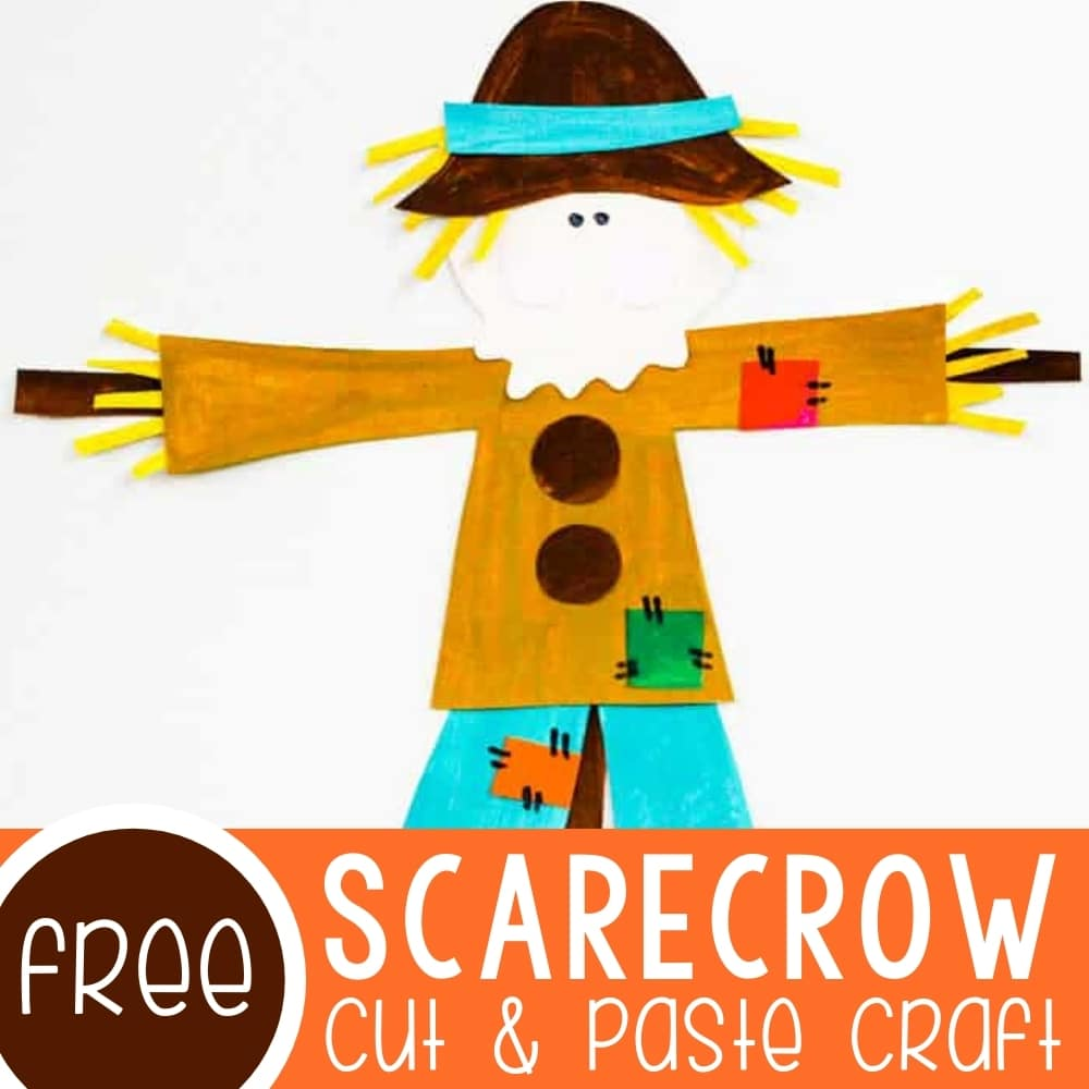 Cut and Paste Scarecrow Craft Template Featured Square Image