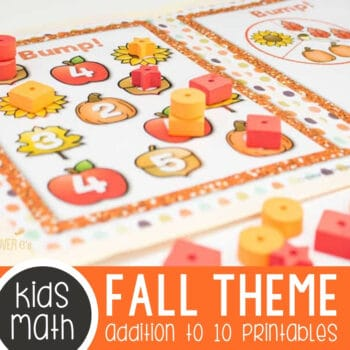 Fall Themed Addition to 10 Printables & Centers Pack Featured Square Image