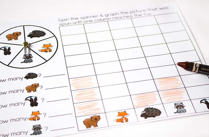 3 free printable forest animal matching activities for your preschoolers! Memory, spin & cover, and graphing activities for your forest animal theme.