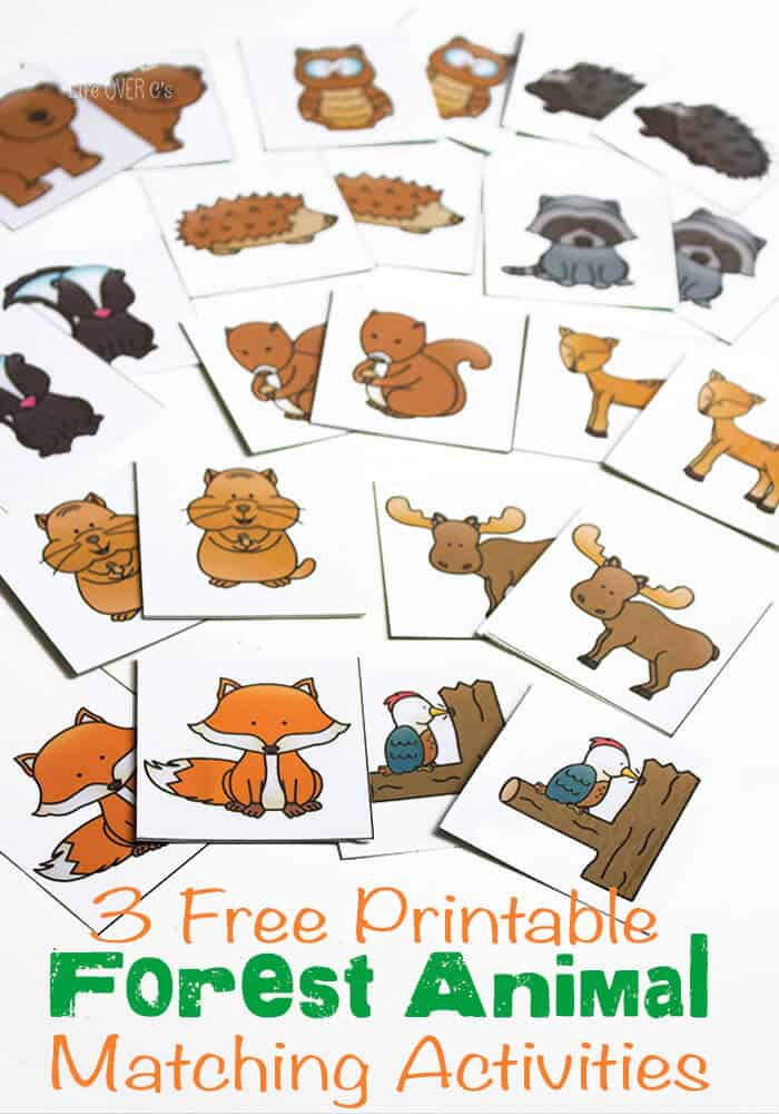 3 Free Printables Forest Animal Theme Matching Activities for preschool.