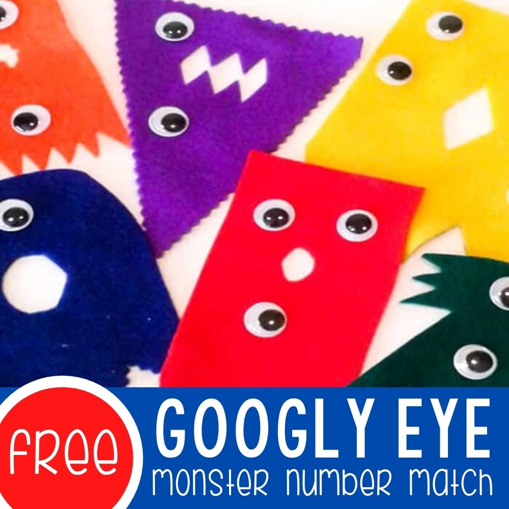Googly Eye Monster Number Match Featured Square Image