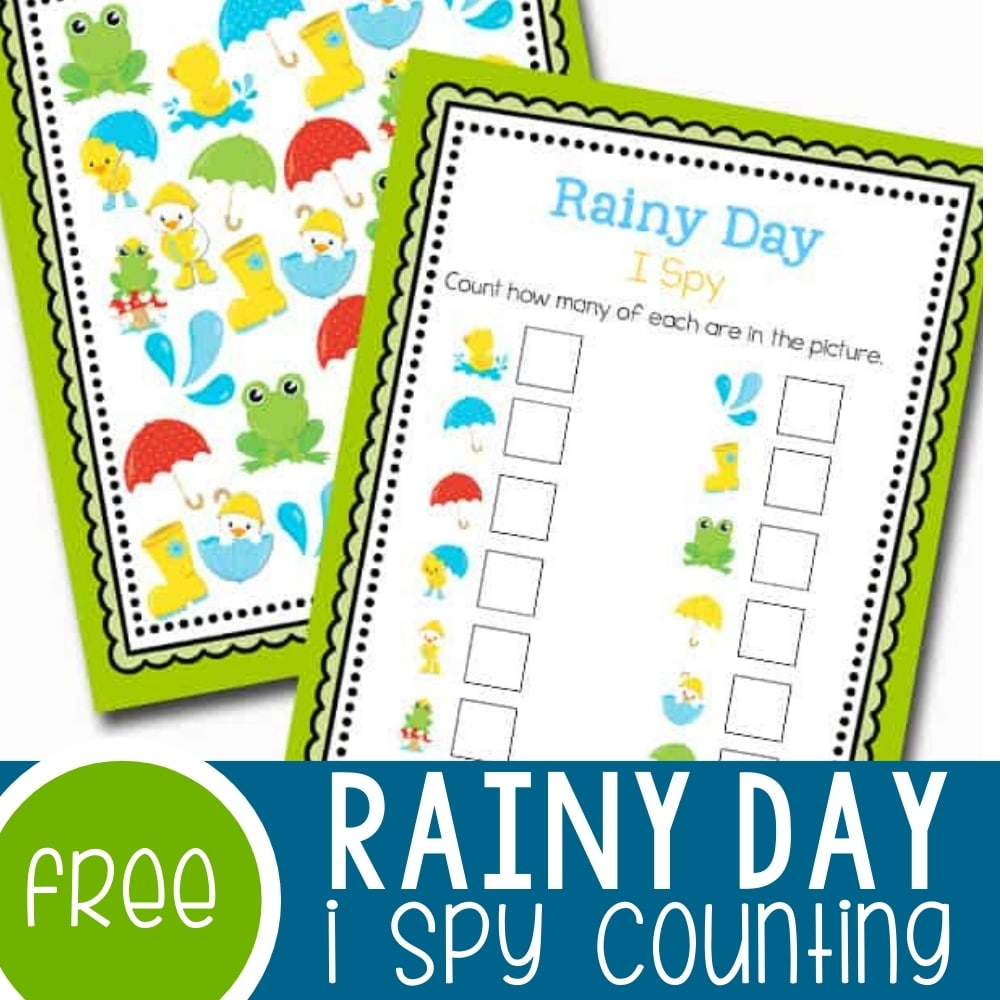 Rainy Day I Spy Counting Activity Featured Square Image