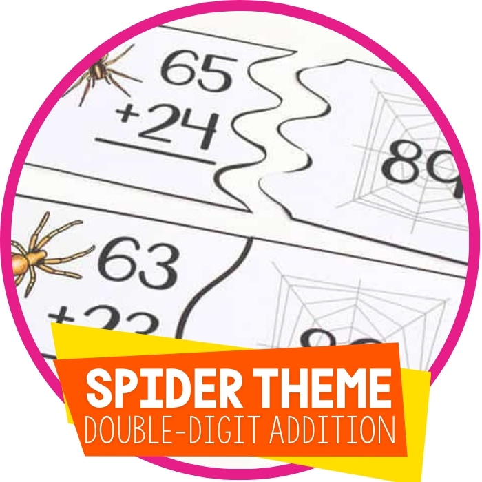 Free Spider Themed Puzzles for Double-Digit Addition