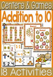 12 Printables & Centers included in this Fall themed Addition to 10 Pack. Bump, clip cards, puzzles, matching activities, card games, color by number and much more! This pack has got your covered for addition to 10!