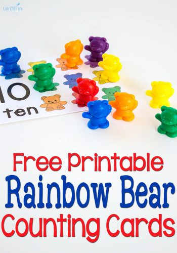 These free printable rainbow bear counting cards are a great way to introduce one-to-one correspondence & counting from 1-10. Everyone loves rainbow bears!