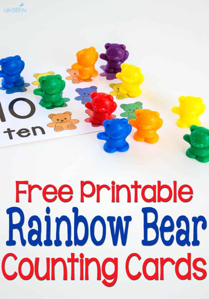 image relating to Printable Bears Schedule titled Free of charge Printable Rainbow Endure Counting Playing cards