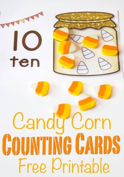 These free printable candy corn counting cards are a great hands-on way to introduce counting to your preschooler! Fill up the candy jar with real candy corn or mini erasers to show numbers 1-10 and have some math fun this fall!