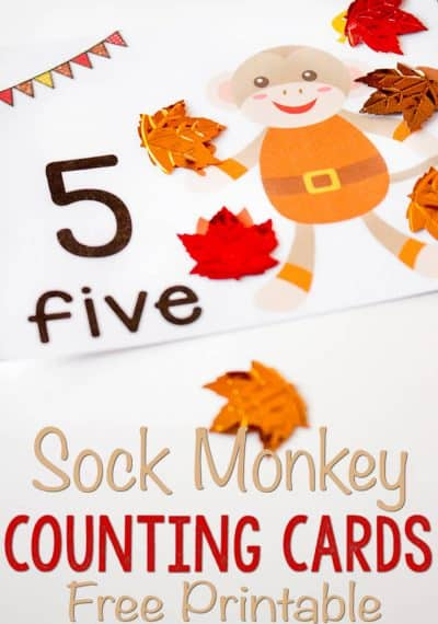 These free printable sock monkey leaf counting cards are so cute! Perfect for learning to count to 10! Plus, she has lots of other great counting card sets!