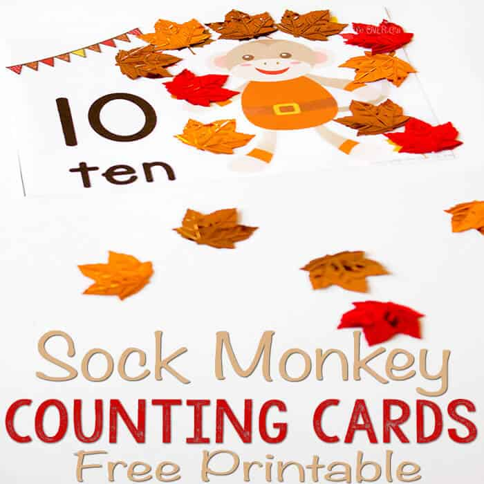 Free Printable Sock Monkey Leaf Counting Cards