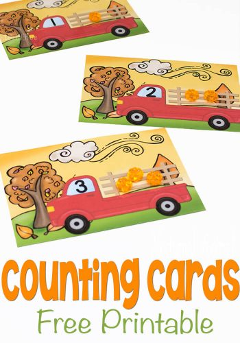 These free printable pumpkin counting cards are a great hands-on way to introduce counting to your preschooler! Load up the pumpkin truck with numbers 1-10 and have some math fun this fall!