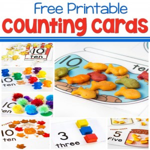 These free printable counting cards are perfect for learning to count from 1-10. Lots of different themes available. Popcorn, bears, blocks, goldfish and more.