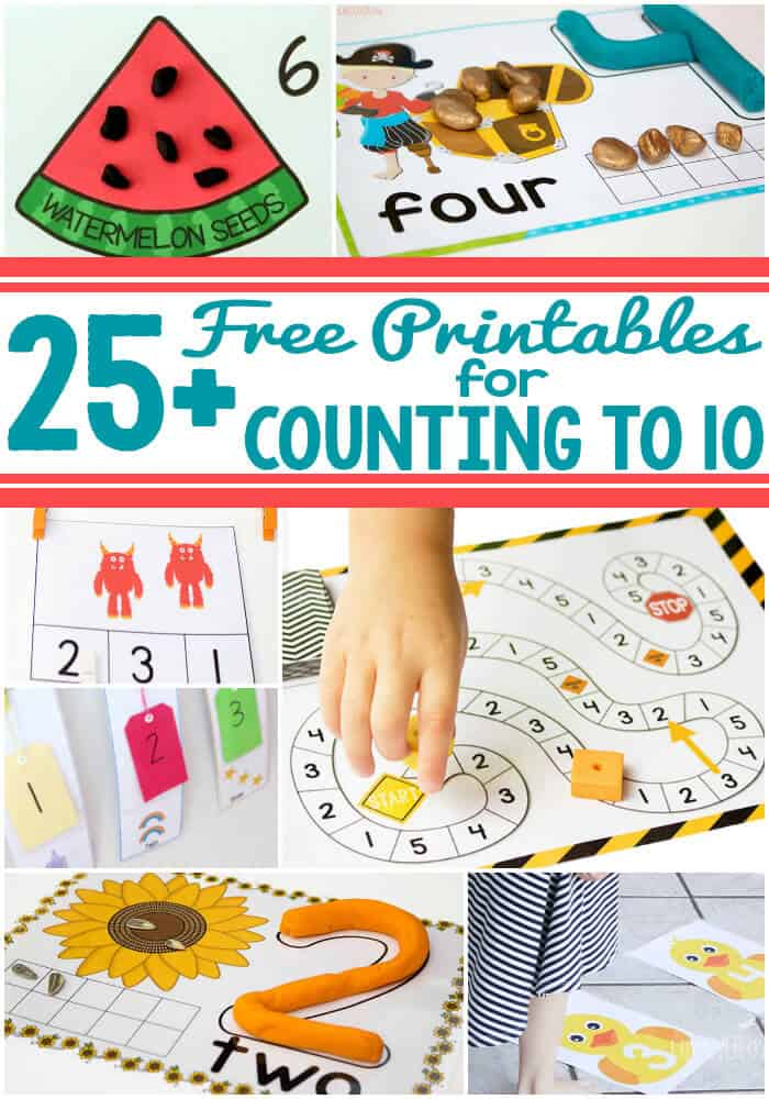 25+ amazing free printables for counting to 10. Hands-on activities that build gross motor skills and fine motor skills.