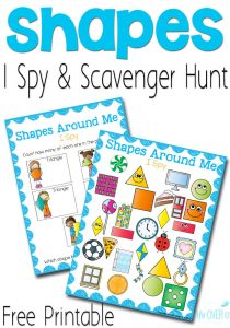 I love these Free Printable Shape I Spy Printables! Such a cute idea for preschoolers! Kids count the squares, rectangles, triangles, circles and rhombuses.