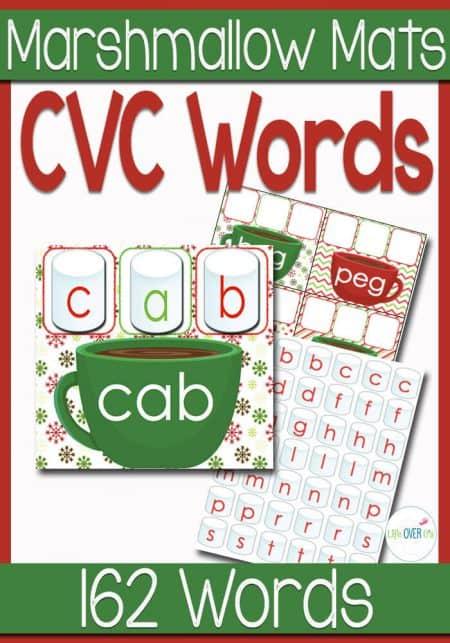 """Help your students warm up this winter with a cupful of cocoa and some CVC Word Family Marshmallows. Students will build CVC words with the included """"marshmallows"""". They will match the marshmallows to the hot cocoa word mats."""