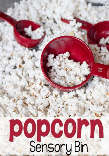 Need an activity for the kids, but don't want a lot of work? This simple play popcorn sensory bin takes the same effort as popping popcorn. Toss it in the microwave, toss it in the bin... Have fun!