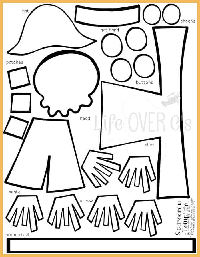 photograph regarding Scarecrow Template Printable called Slice and Paste Scarecrow Craft for Slide