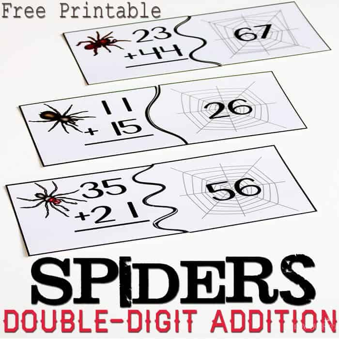 Free spider themed puzzles for double-digit addition.