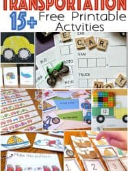 Transportation Theme Free Printables for Learning