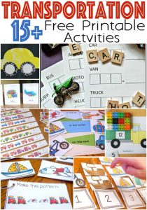 Transportation Theme Free Printables for learning! So many great ideas for making our transportation theme fun!