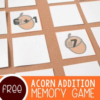 Acorn Addition Facts Memory Game Featured Square Image