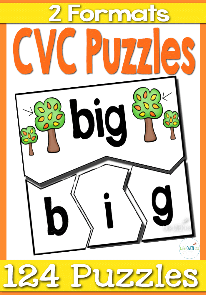 124 CVC Puzzles in two different formats gives lots of opportunities for word building practice! Great for learning word families!