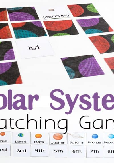 This free printable solar system matching game is a great way to learn about about the order of the planets. It's also a fun way to practice ordinal numbers!
