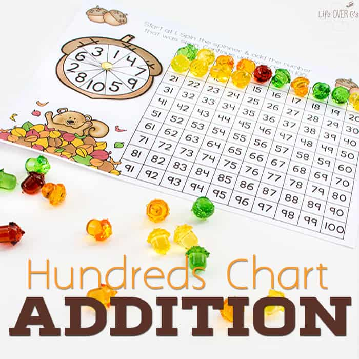 Acorn Addition with Hundreds Chart