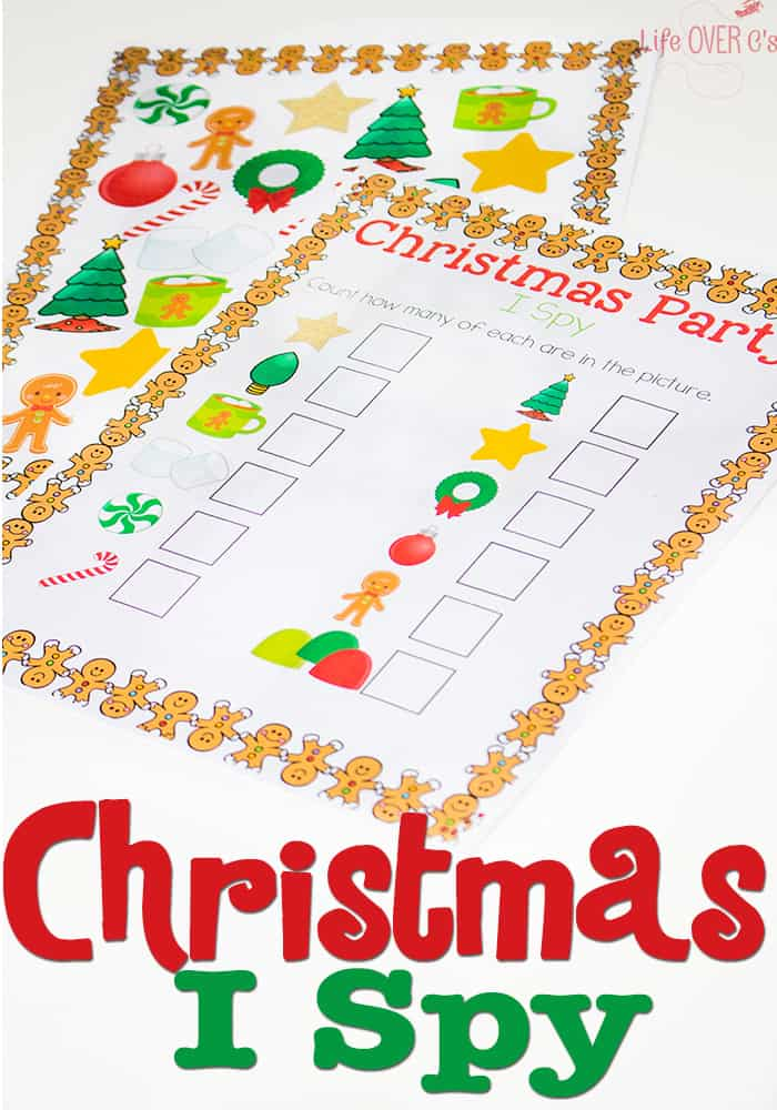 Materials needed for the Free Printable Christmas I Spy: