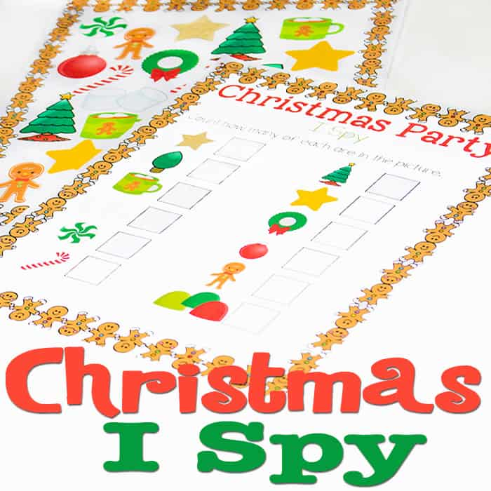 Christmas I Spy free printable is perfect for practicing counting or a fun quiet-time activity during such a busy holiday season.