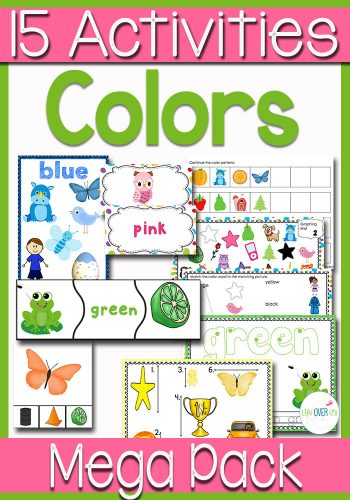 This color MEGA pack is filled with math and literacy skill building activities for preschoolers! Learn about colors with matching, measuring, patterns, word recognition, graphing, play dough and MORE!