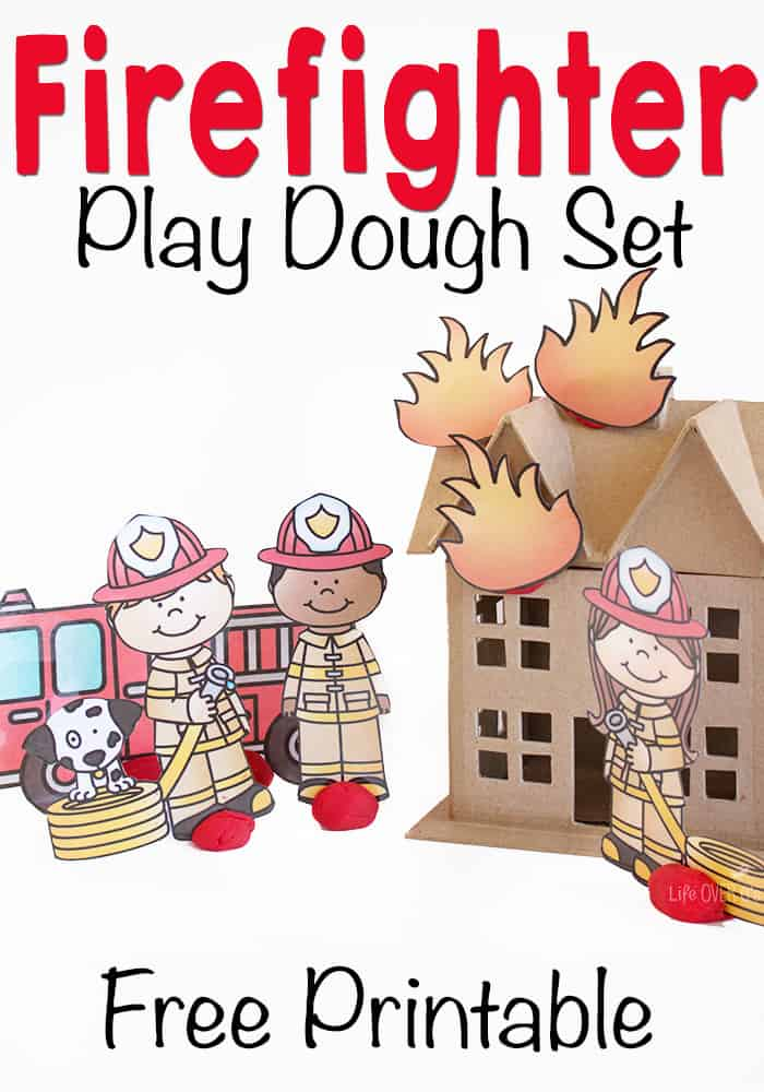 This firefighter play dough set is the most adorable thing that I have seen for play dough! It's a free printable, so don't miss out!