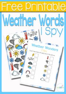 This weather I Spy is perfect for preschoolers and kindergarteners who are learning weather words! They can practice counting clouds, lightening, tornadoes and more with this fun free printable I Spy!