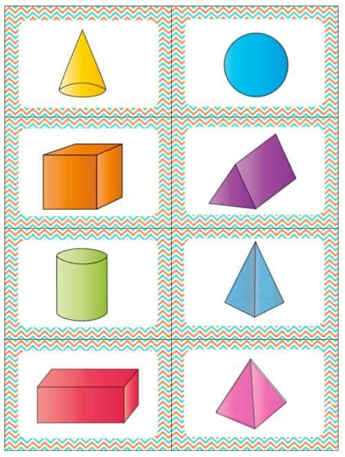 3D shapes cards