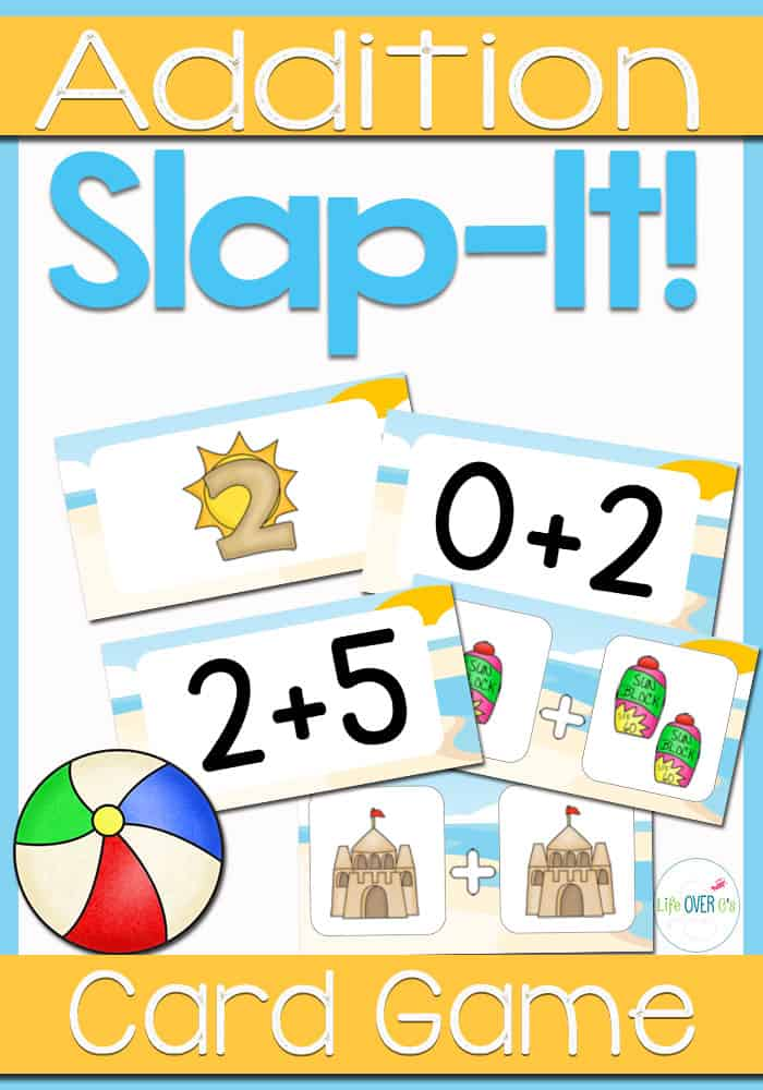Addition Facts Family Slap-It Card Game Beach Theme