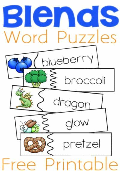 These free printable beginning blends puzzles are perfect for learning to read! A step up from matching a blend, kids can decode these words to match them to the correct pictures.