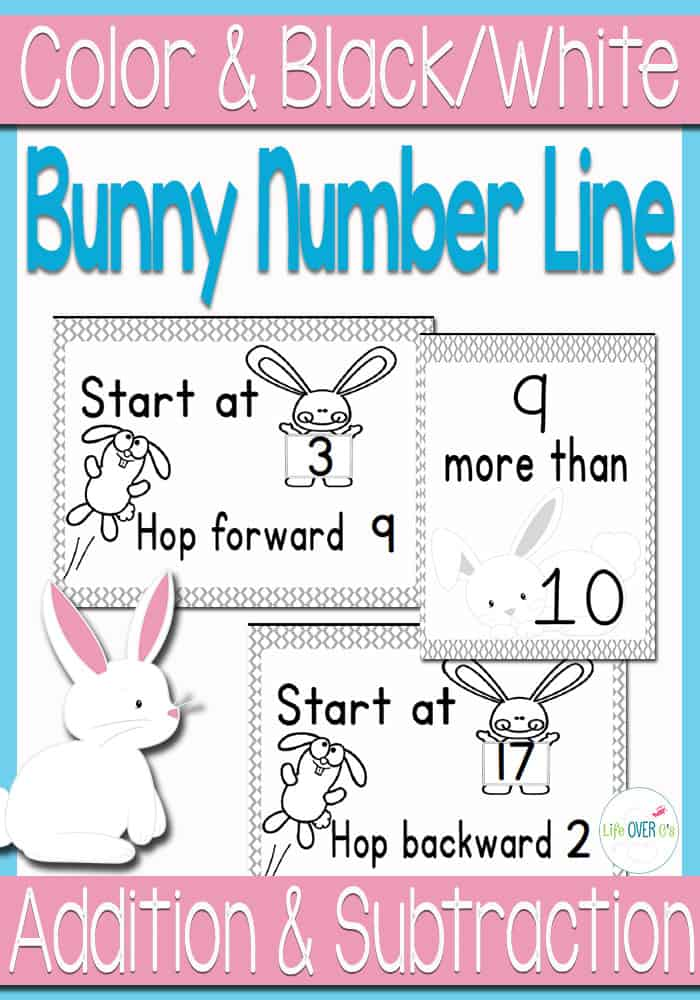 Number Lines: Adding and Subtracting within 20 Bunnies