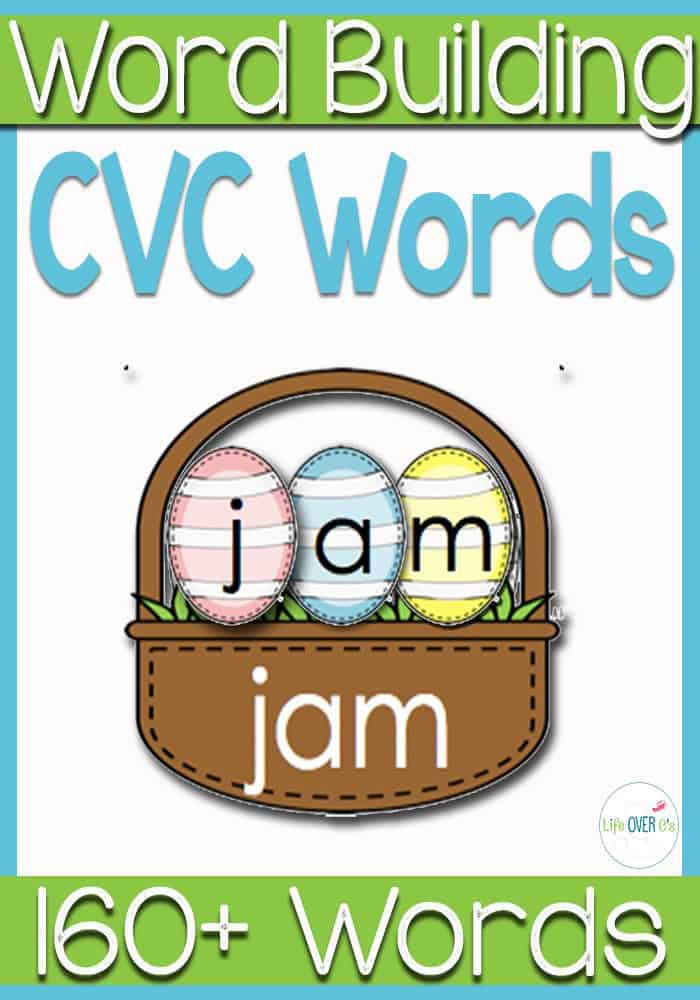 This CVC Word Baskets for Easter are so cute! Kids use the eggs to build CVC words in the baskets!