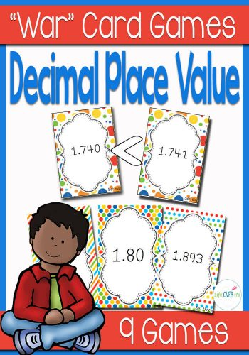 "These Decimal Place Value ""War"" card games are a fun way to learn how to write and read decimals. Compare between hundredths and thousandths with this face-paced partner card game game."