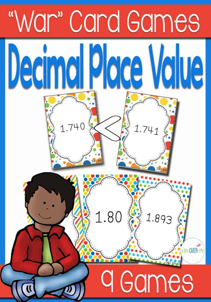 """These Decimal Place Value """"War"""" card games are a fun way to learn how to write and read decimals. Compare between hundredths and thousandths with this face-paced partner card game game."""