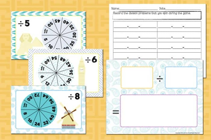 Practicing division facts has never been so fun! This Division Fact Spin & Win! partner game is a great way to review math facts with your students!