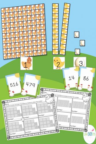 These themed base-ten manipulatives make learning place value so much fun! This set has a different part of the chicken life cycle for each place value. So cool!