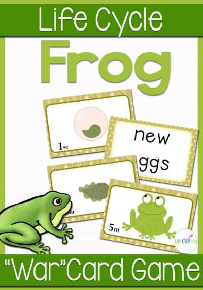 """Your students will love learning about the frog life cycle as they play this card game! The Frog Life Cycle Sequencing card game is played like a game of """"War"""", but uses the stages of the frog life cycle instead of numbers. Great for a life cycle unit!"""