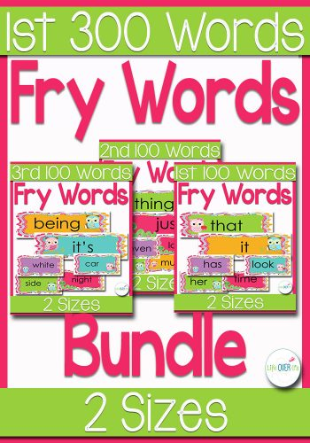 Fry Word Bundle: First 300 Fry Words for A Classroom Word Wall In A Cute Owl Theme