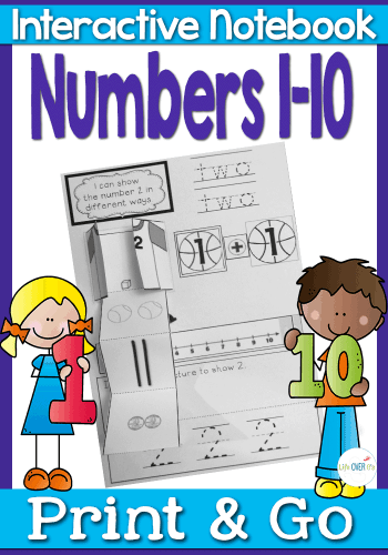 This interactive math notebook for numbers 1-10 is fantastic. Numbers are shown in several different formats: words, numerals, tally marks, dice, number line and more!