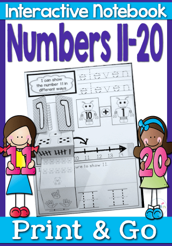 Interactive math notebook for numbers 11-20. Shows numbers in lots of different ways! Numerals, words, tally marks, dice, hands, number line, simple addition and much more!