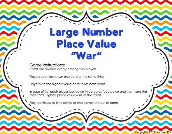 Large Number Place Value 'War' Card Game