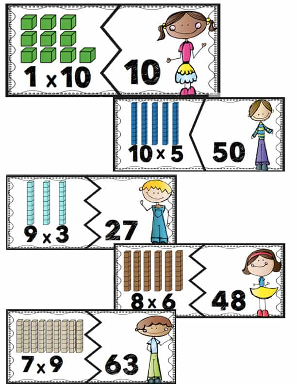 Multiplication Fact Puzzles for Multiples of 1-10 - Life Over Cs