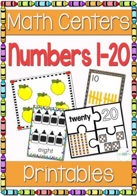 5 math centers and printable activities for numbers 1-20. Lots of fun ways to engage your students in learning their numbers.